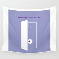 monster inc Wall Tapestries featuring No161 My Monster Inc minimal movie poster by Chungkong