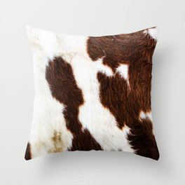 Cowhide Brown Spots Throw Pillow