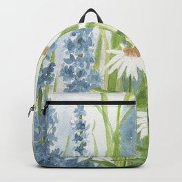 Watercolor Botanical Garden Flower Wildflower Blue Flower Garden Backpack