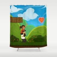 gaming Shower Curtains featuring Co-Op Gaming by CazArts