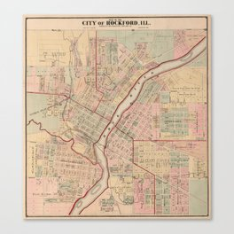 Vintage Map of Rockford IL (1886) Canvas Print