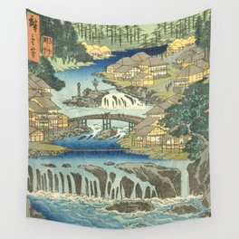 Utagawa Hiroshige - Izu Province Hot Springs At Shuzen Temple - Vintage Japanese Woodblock Print Art Wall Tapestry