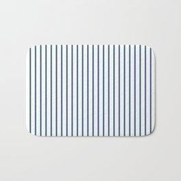 Iris Blue Pinstripe On White Bath Mat