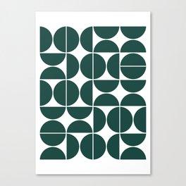 Mid Century Modern Geometric 04 Dark Green Canvas Print