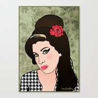 amy poehler Canvas Prints featuring Amy  by Pendientera