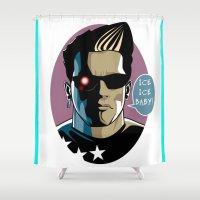 arnold Shower Curtains featuring Rockarture ICON|Vanilla Ice Arnold Schwarzenegger by JHC Studio