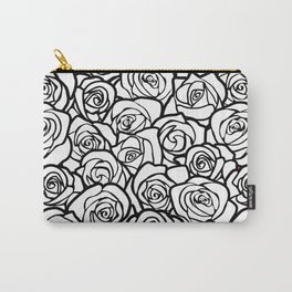 Vintage black and white roses Carry-All Pouch