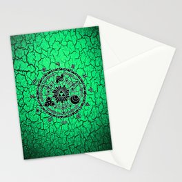 Green Circle Of Triangle Stationery Cards