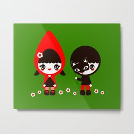 Little Red Riding Hood & Her Wolf Metal Print