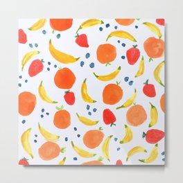 Fruit Pattern with Bananas Strawberries Blueberries Oranges Tropical Summer Florida Sweet Fruits Metal Print