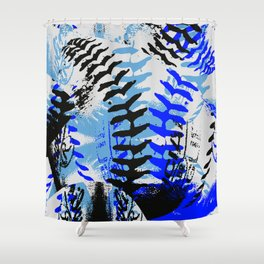 Baseball Abstract Blues Shower Curtain
