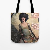 rock Tote Bags featuring Rock the Casbah by Rudy Faber