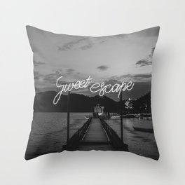 Sweet Escape (Black and White) Throw Pillow