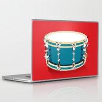 drum Laptop & iPad Skins featuring Drum - Red by Ornaart