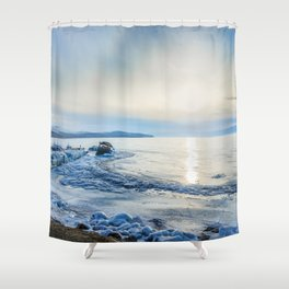 Frozen wharf and Halo Shower Curtain
