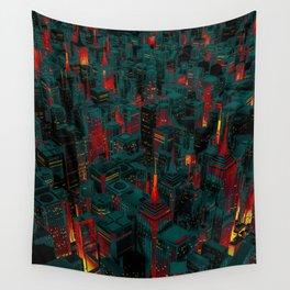 Night city glow cartoon Wall Tapestry