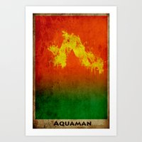 aquaman Art Prints featuring AquaMan by Nicholas Hyde