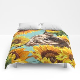 Highland Cow with Sunflowers in Blue Comforters