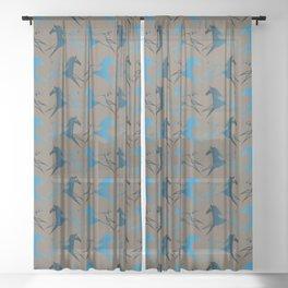 Blue Brown War Horse Sheer Curtain