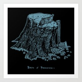 Birth of Pinocchio (black version) Art Print