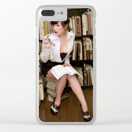 """I Like Books, Too"" - The Playful Pinup - Sexy Librarian Pin-up Girl by Maxwell H. Johnson Clear iPhone Case"