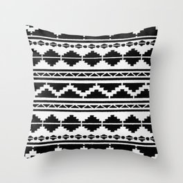 (N12) Moroccan Vintage Black and White Ethnic Artwork. Throw Pillow