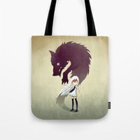 girl Tote Bags featuring Werewolf by Freeminds
