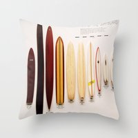 surfboard Throw Pillows featuring Surfboard Evolution by John Lyman Photos