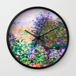 Monet Garden Montgeron Low Poly Geometric Triangles Wall Clock