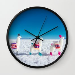 Llamas on the Bolivia Salt Flats Wall Clock