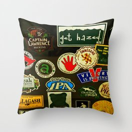 beer sticker party Throw Pillow
