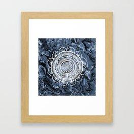 White Acacia on Liquid Silver Framed Art Print