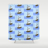pirate ship Shower Curtains featuring Pirate Ship by Isobel Woodcock Illustration