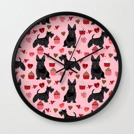Scottie scottish terrier valentines day dog love pet portrait cute puppy dog valentine Wall Clock