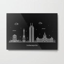 Indianapolis Minimal Nightscape / Skyline Drawing Metal Print