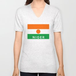 niger country flag name text Unisex V-Neck