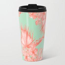 Dreaming of Hawaii Coral Pink + Pastel Green Travel Mug