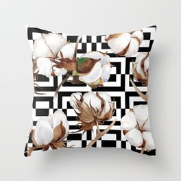 Cotton Flower Pattern 09 Throw Pillow