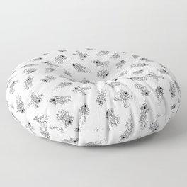 Cosmic Stranger Pattern in Black and White Floor Pillow