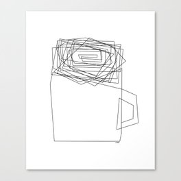 Coffee Illustration Black and White Drawing One Line Art Canvas Print
