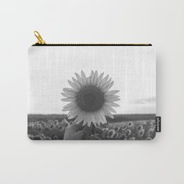 Her Sunflower (Black and White) Carry-All Pouch