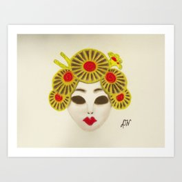 Japanese Female Mask Art Print
