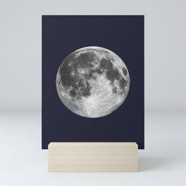 Full Moon on Navy Minimal Design Mini Art Print