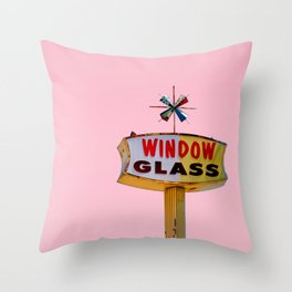 Atomic Pink Starburst - Vintage Googie-Style Sign with Pink Background Throw Pillow