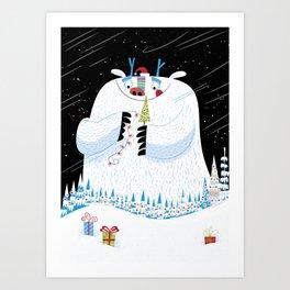 George, the Christmas Yeti  Art Print