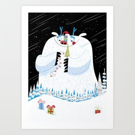 George, the Christmas Yeti  Art Print