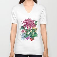 oriental V-neck T-shirts featuring Oriental Flowers by Chicca Besso