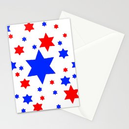 4TH RED & WHITE & BLUE STARS  DESIGN Stationery Cards