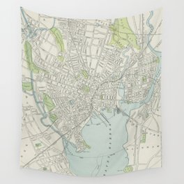 Vintage Map of New Haven Connecticut (1901) Wall Tapestry