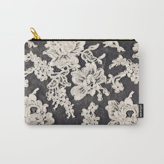 black and white lace- Photograph of vintage lace Carry-All Pouch